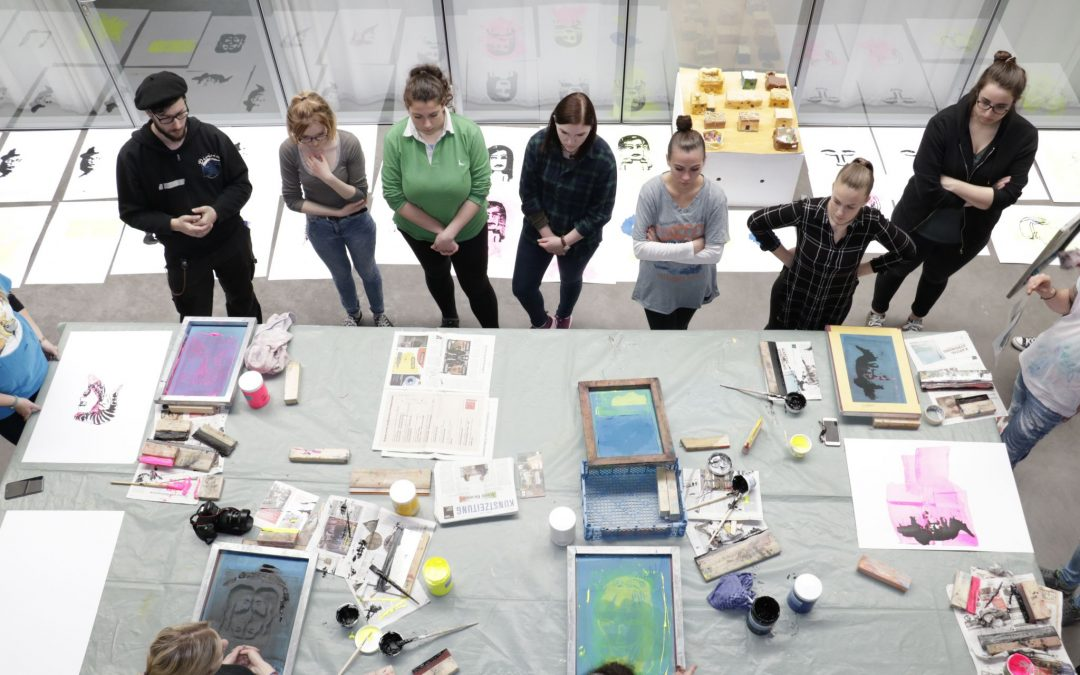 """Screen printing workshop on the topic """"In the eyes of the other""""."""