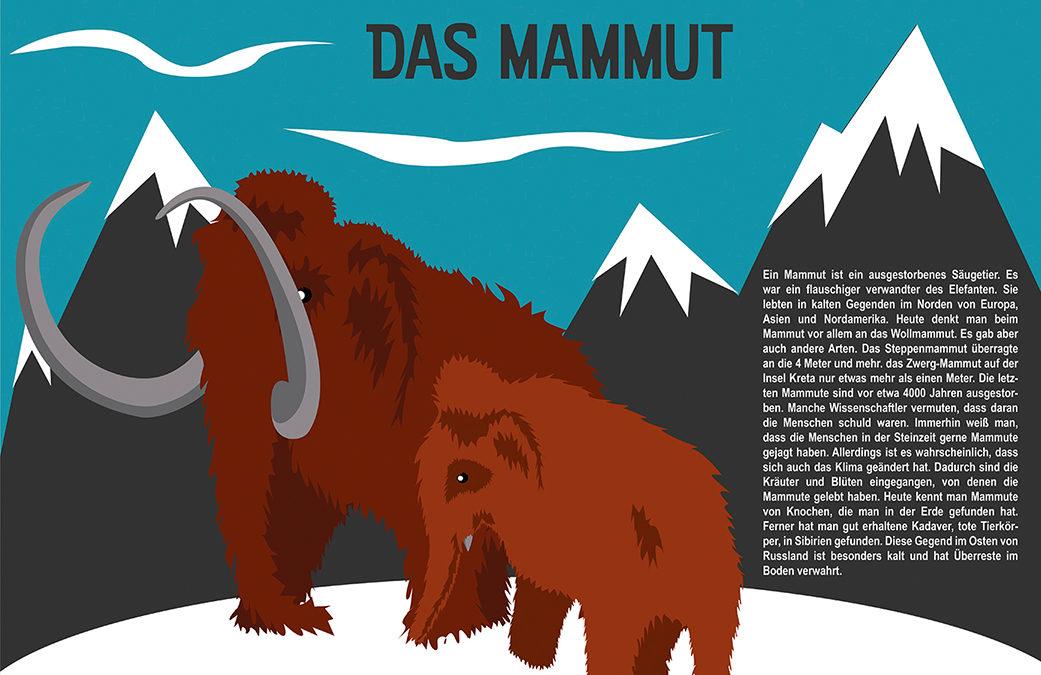 """Illustrationen für das fiktives Sachbuch """"Tiere aus der Urzeit"""""""